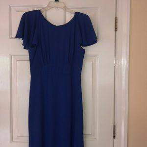 Royal Blue capped sleeve prom dress
